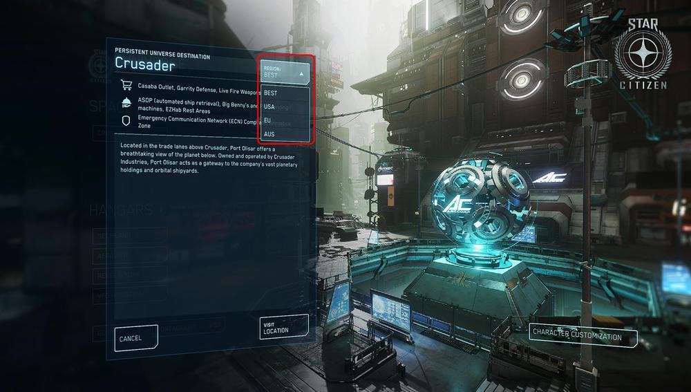 Star Citizen wybór serwera