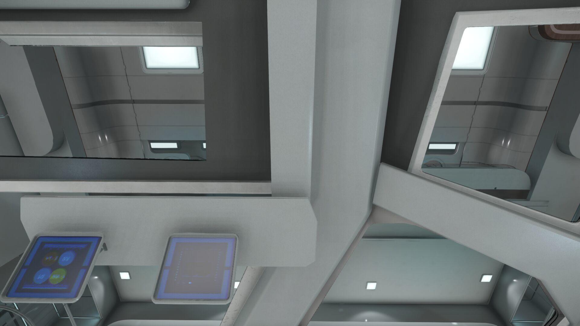 Wygląd wnętrza - widok z prawego fotela członka załogi - z górę