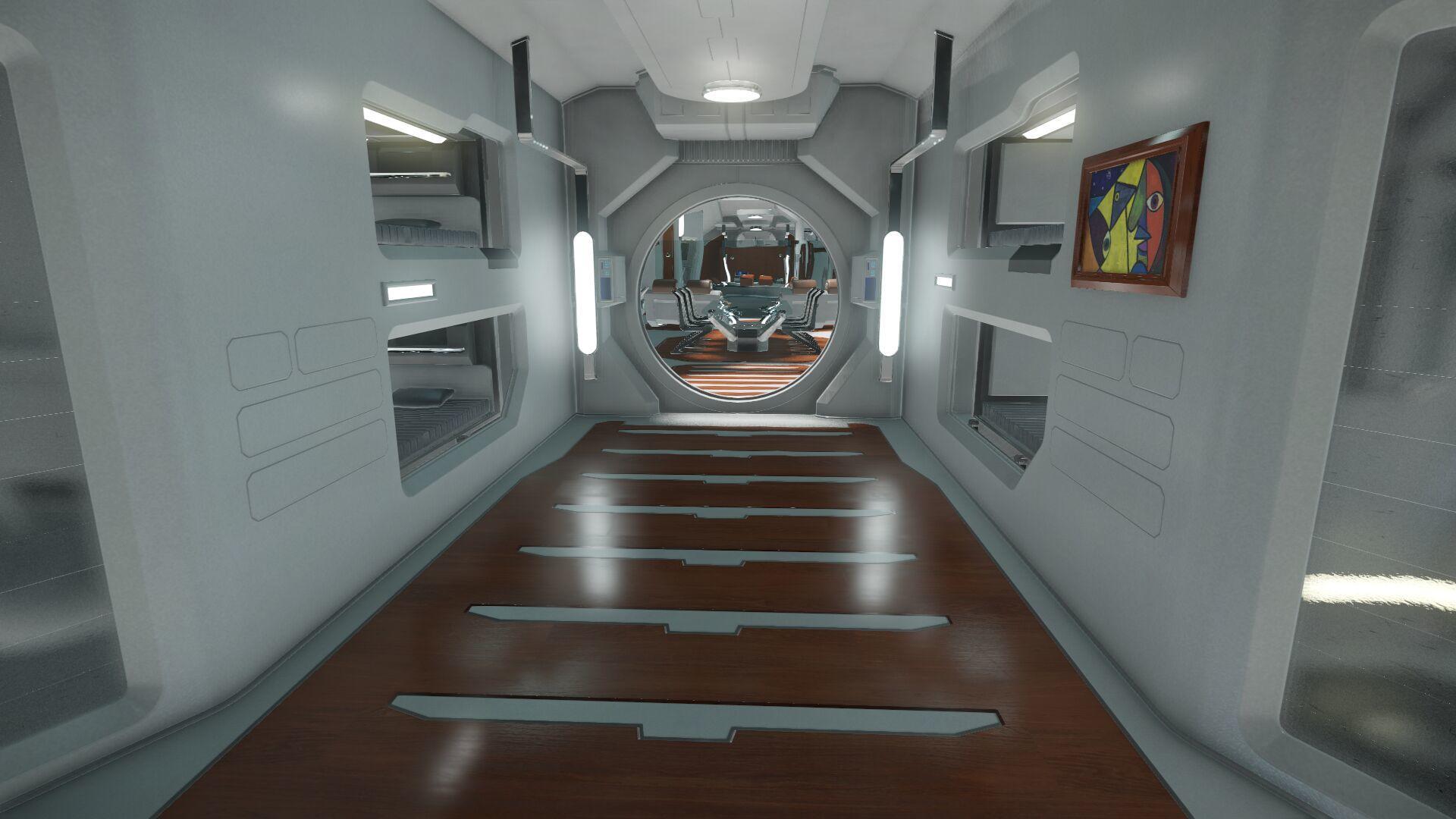 Wygląd wnętrza - główny pokład - sekcja załogi - widok na łóżka/kapsuły ratunkowe w kierunku tyłu statku