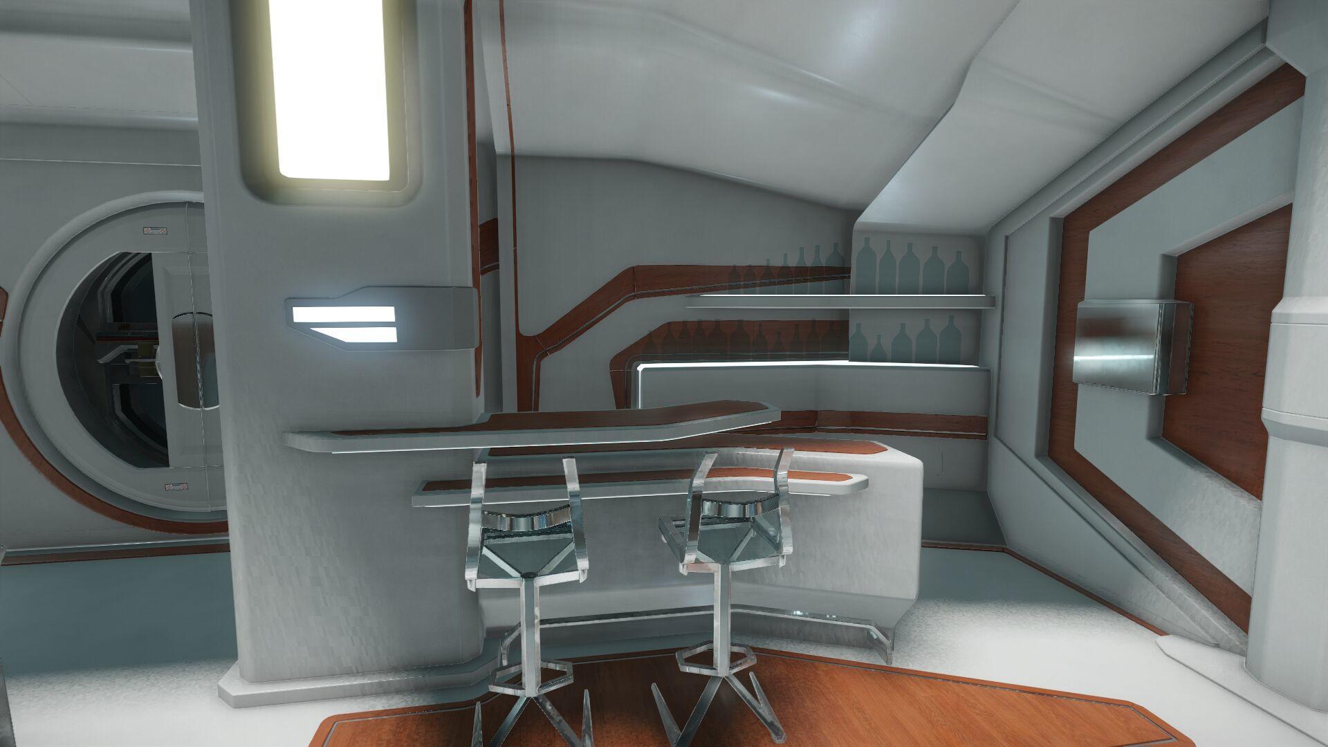 Wygląd wnętrza - główny pokład - sekcja dla gości - barek