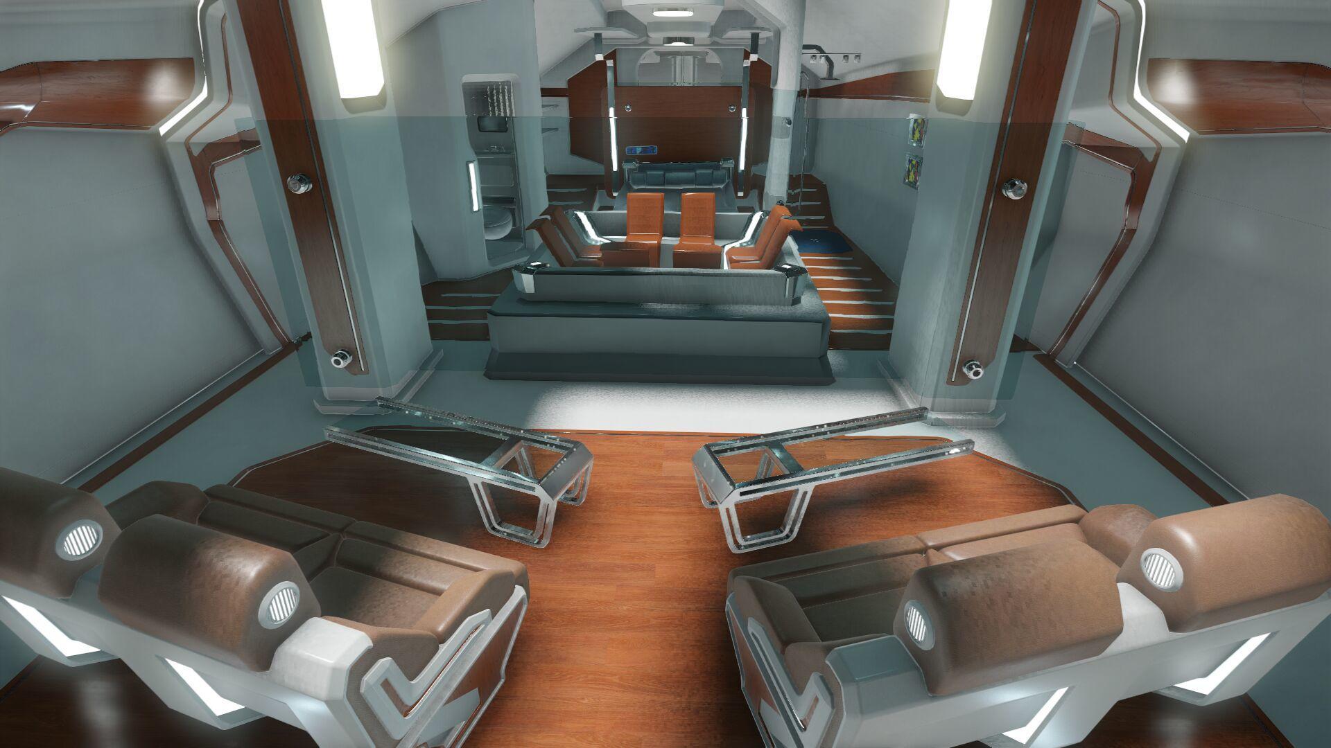 Wygląd wnętrza - główny pokład - sekcja dla gości - centrum rozrywki