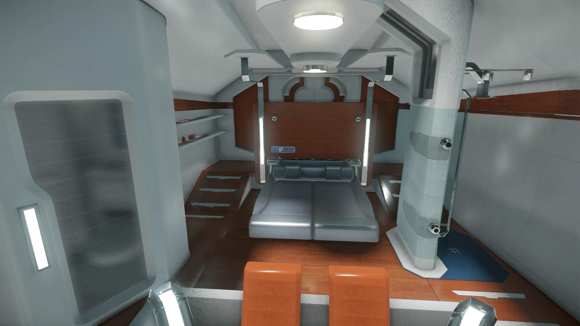 Wygląd wnętrza - główny pokład - sekcja dla gości - łóżko