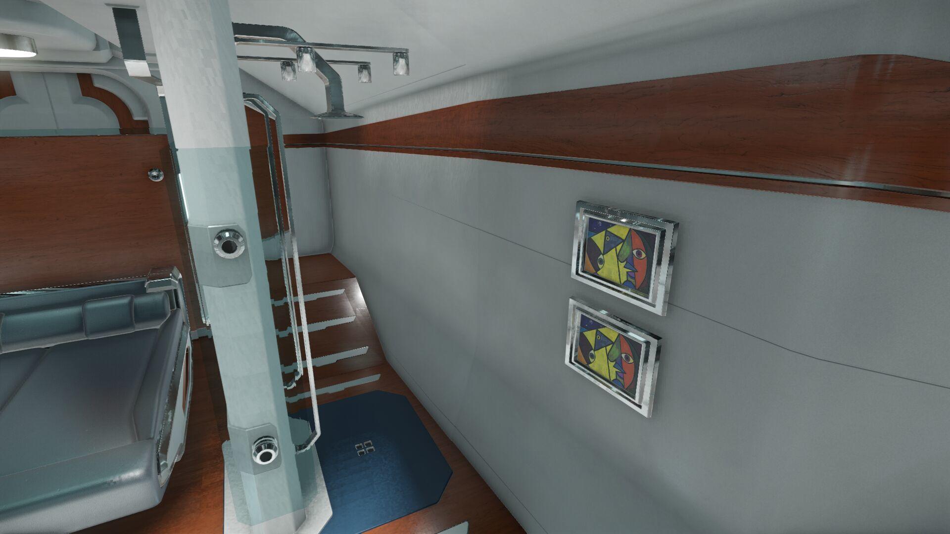 Wygląd wnętrza - główny pokład - sekcja dla gości - prysznic