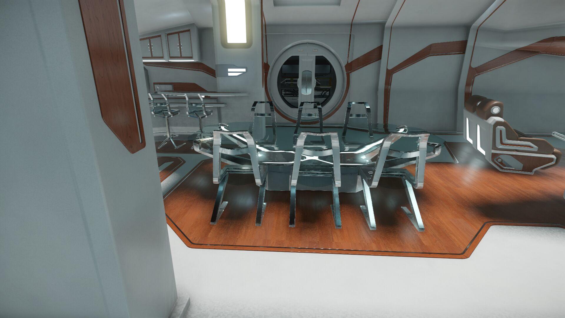 Wygląd wnętrza - główny pokład - sekcja dla gości - stół konferencyjny