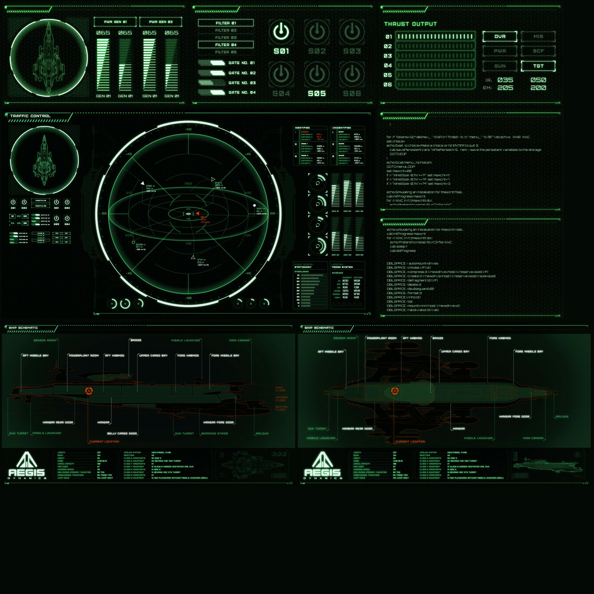 Idris informacje widoczne na ekranach załogi