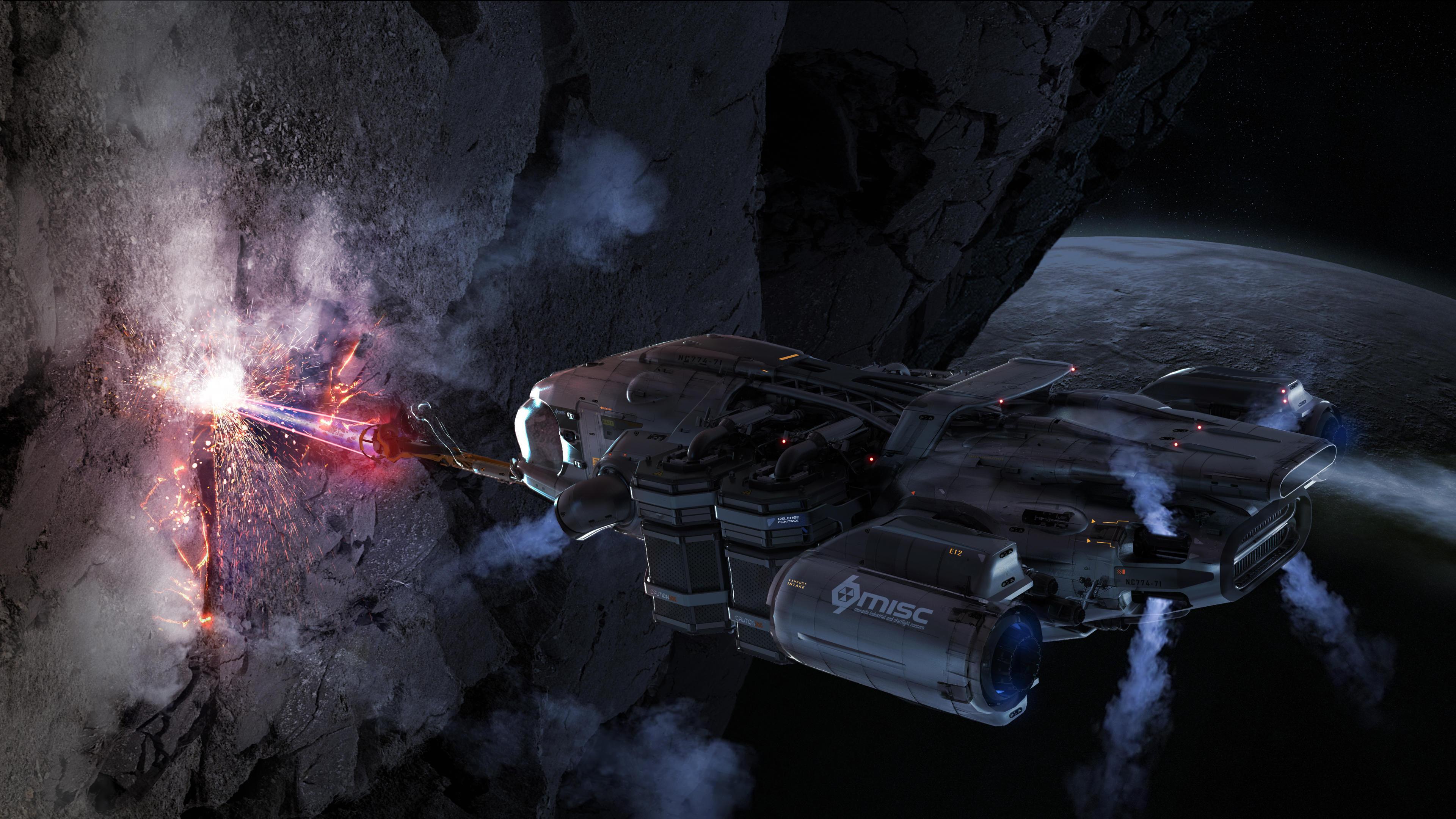 MISC Prospector - wydobycie z asteroidy