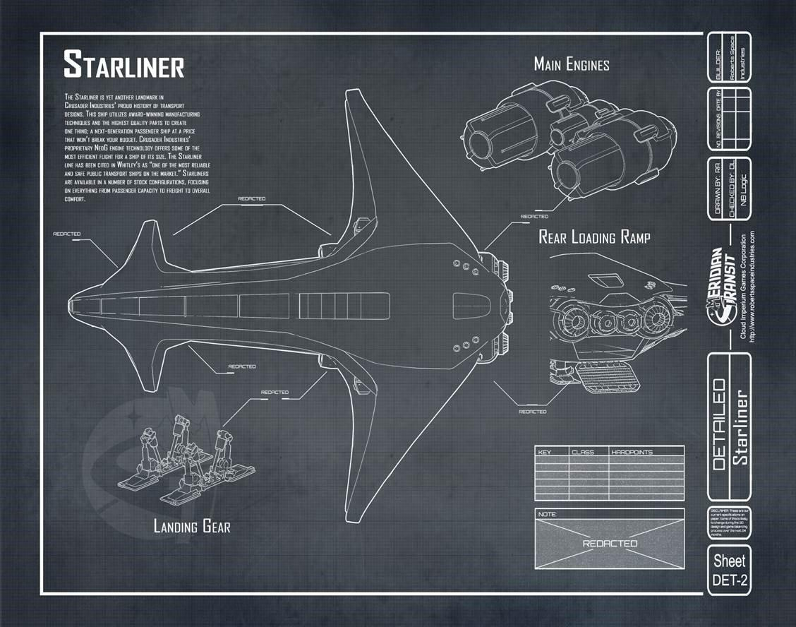 Crusader Industries Starliner - rysunek techniczny