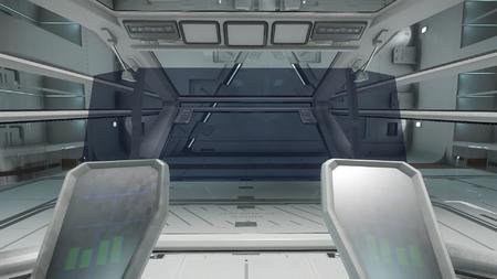 Wygląd wnętrza - widok z fotela kapitana - na wprost
