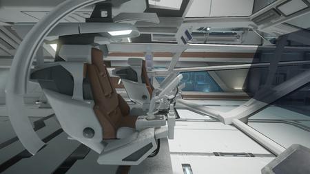 Wygląd wnętrza - widok z prawego fotela członka załogi - na lewo