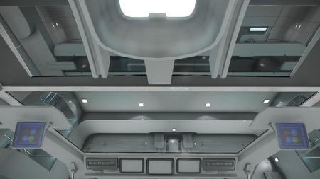 Wygląd wnętrza - widok z fotela kapitana - w górę