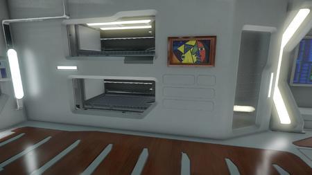 Wygląd wnętrza - główny pokład - sekcja załogi - widok na łóżka/kapsuły ratunkowe po lewej stronie