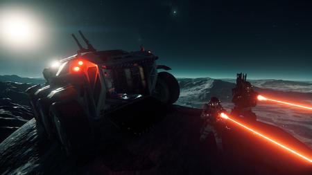 Grupa ekspedycyjna w trakcie starcia na powierzchni planety