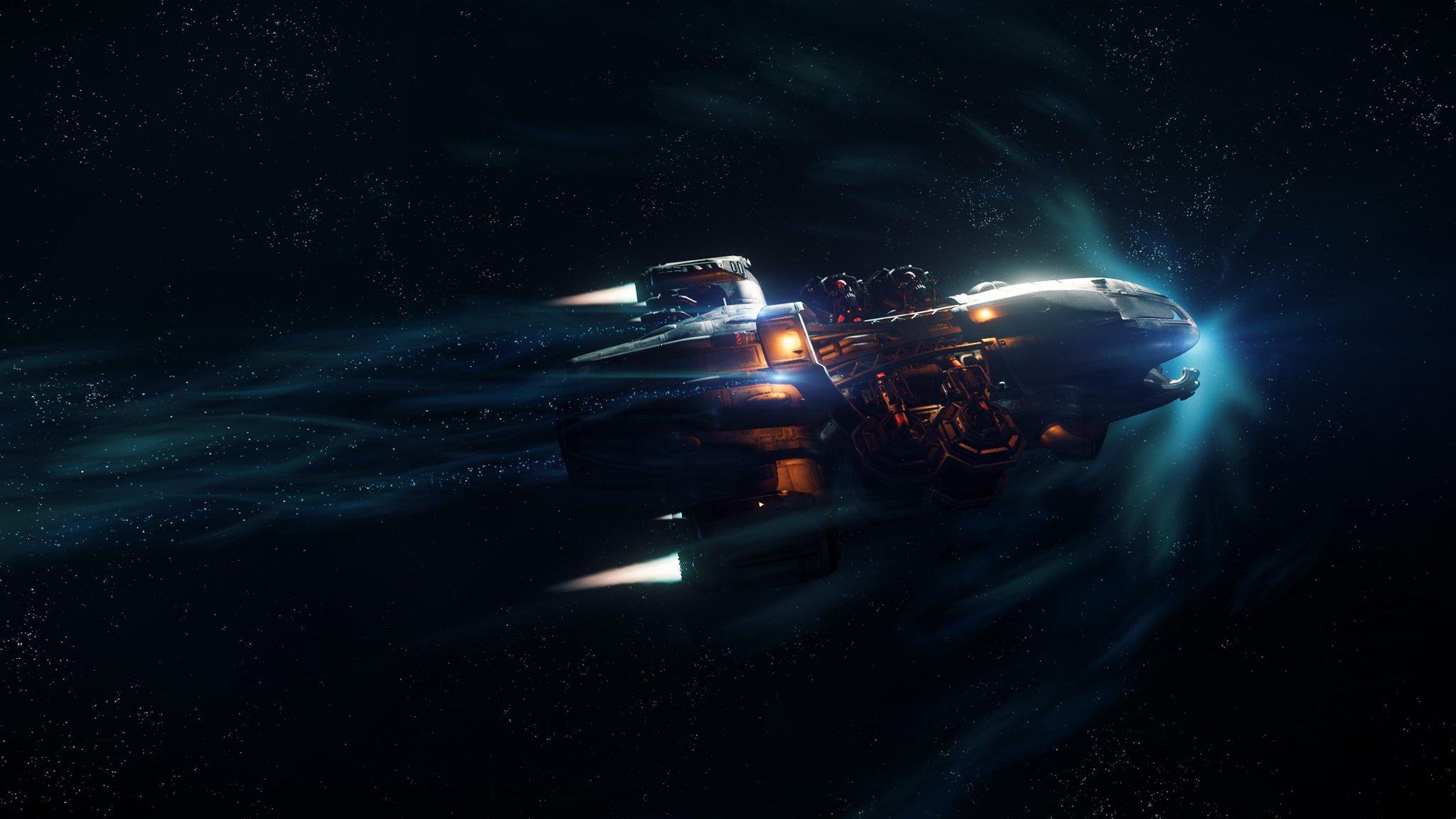 Prospector w trakcie lotu z użyciem Quantum Drive