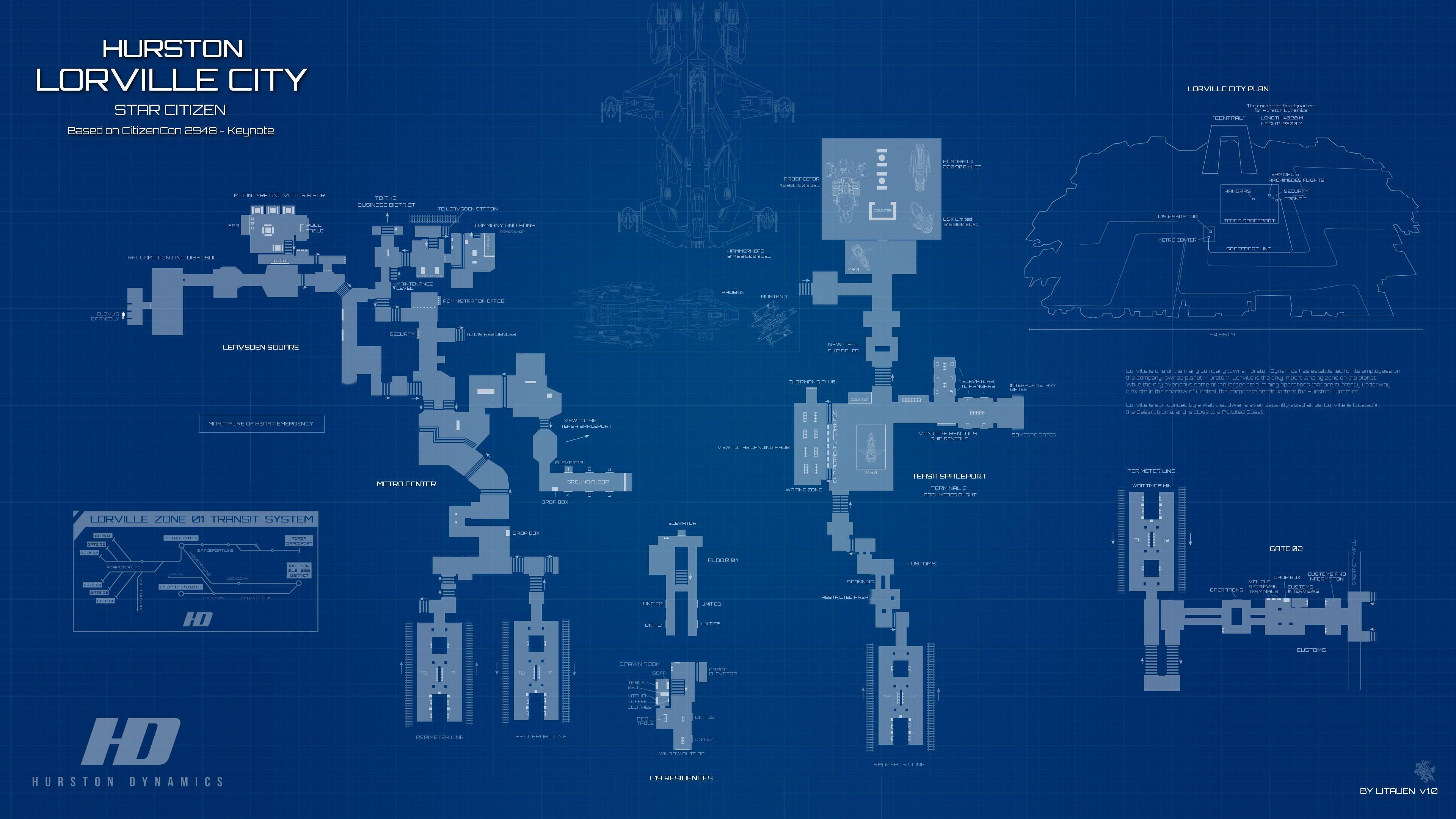 Mapa Lorville - system Hurston