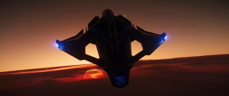 Sabre Raven na tle zachodzącego słońca