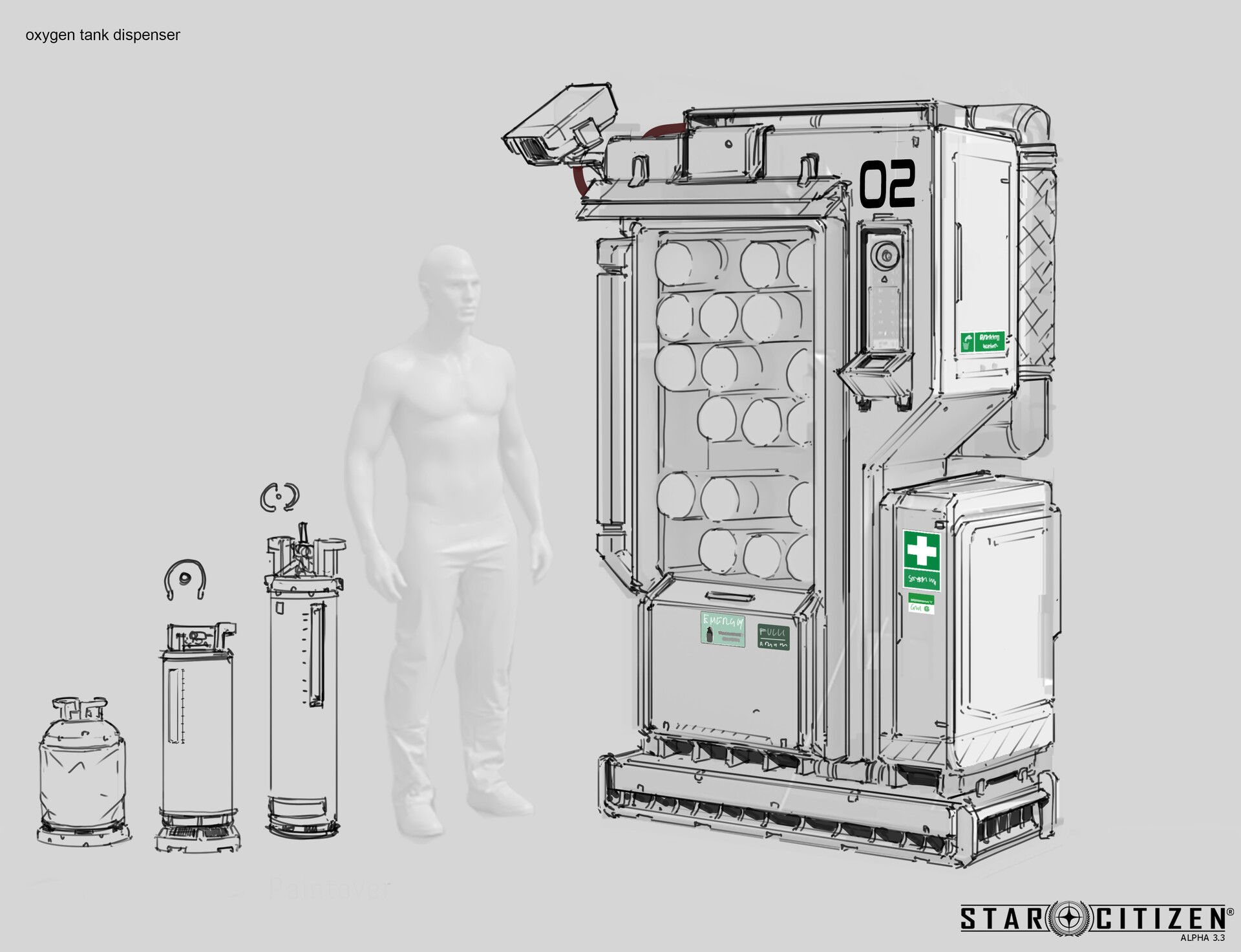 Dystrybutor pojemników z tlenem - koncept 01