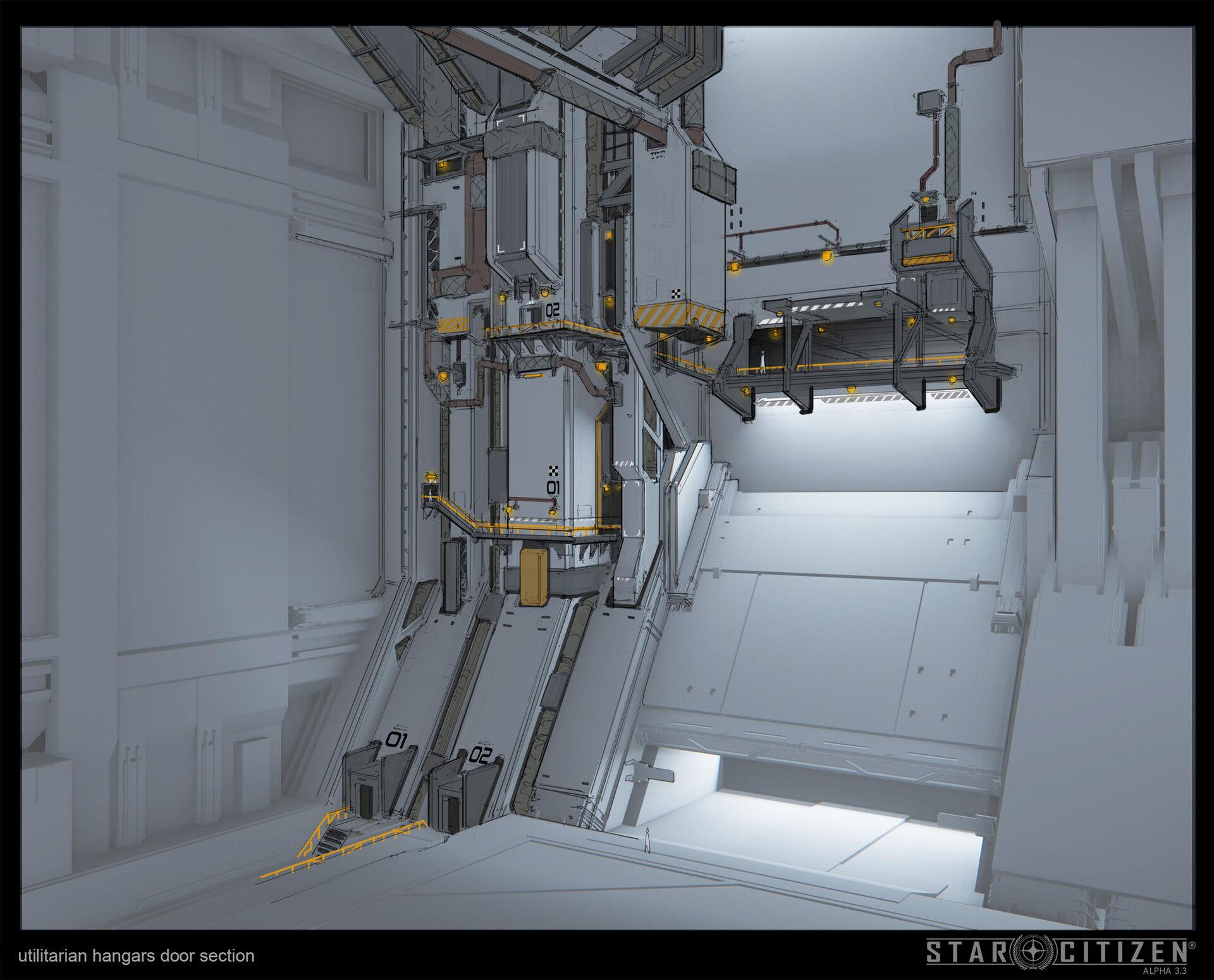 Sekcja bramy hangaru - koncept 01