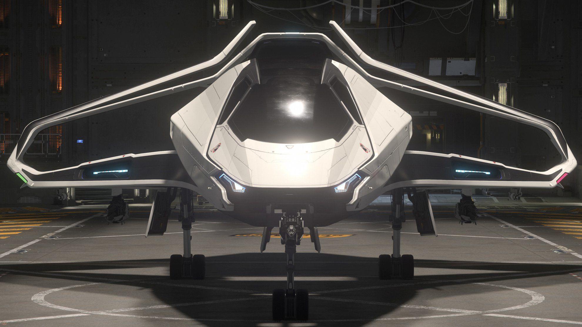 Origin 300i w hangarze SelfLand - widok z przodu