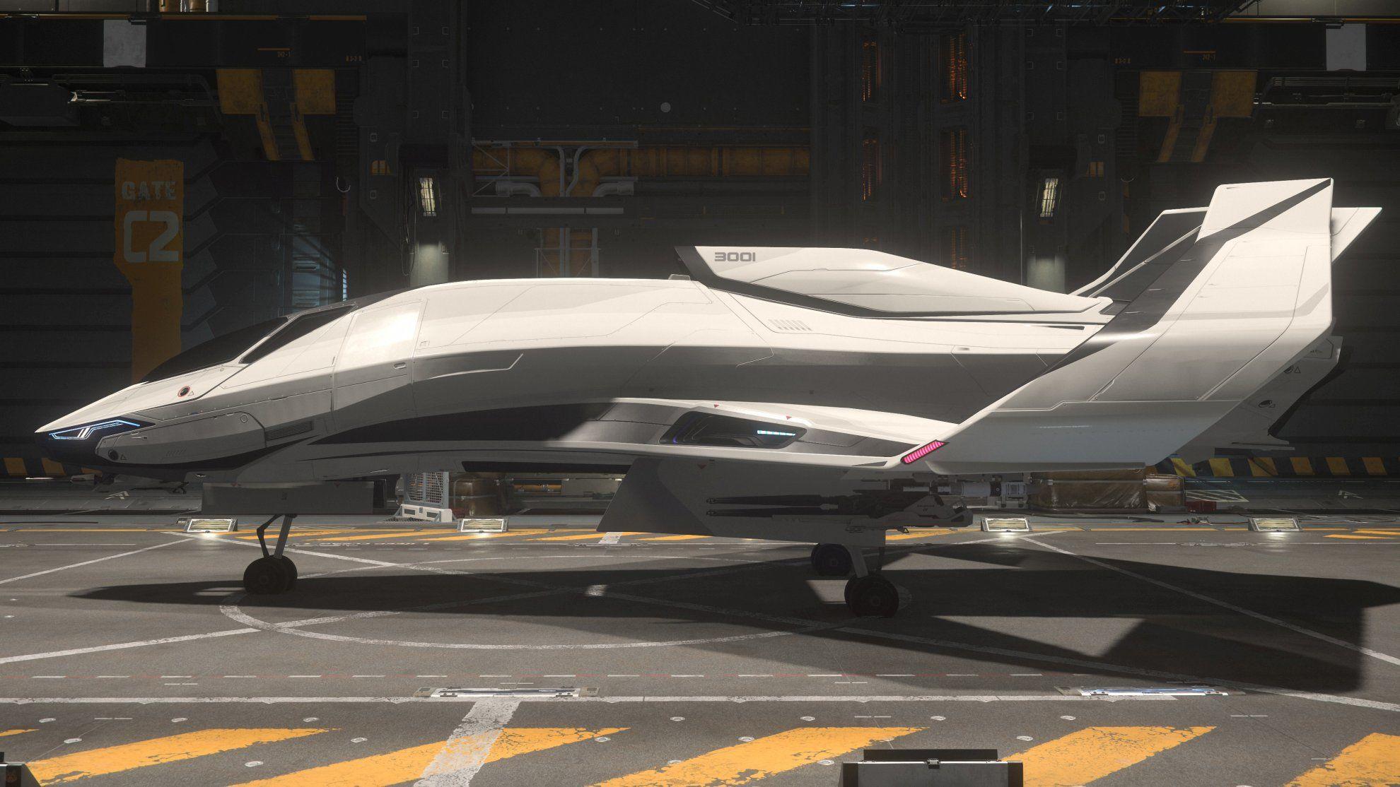 Origin 300i w hangarze SelfLand - widok z boku