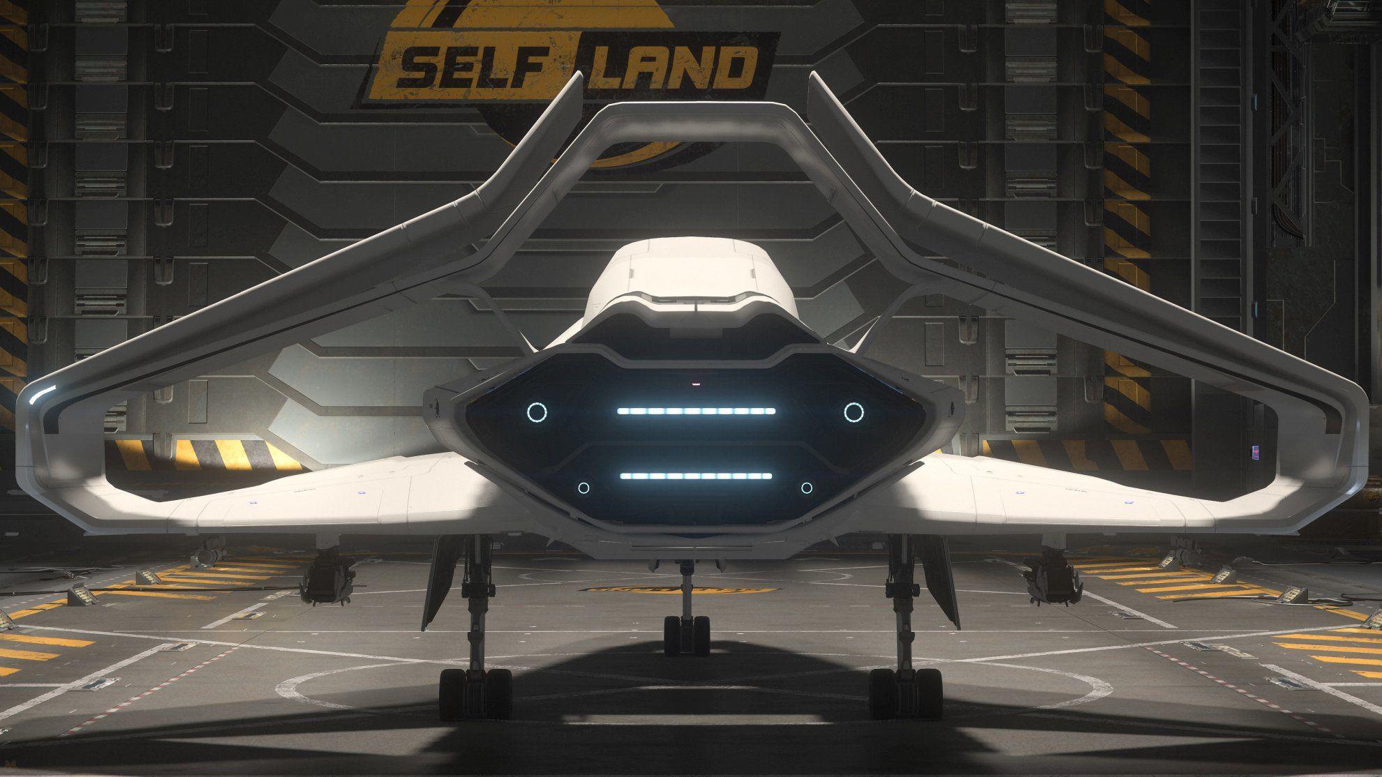 Origin 300i w hangarze SelfLand - widok od tyłu