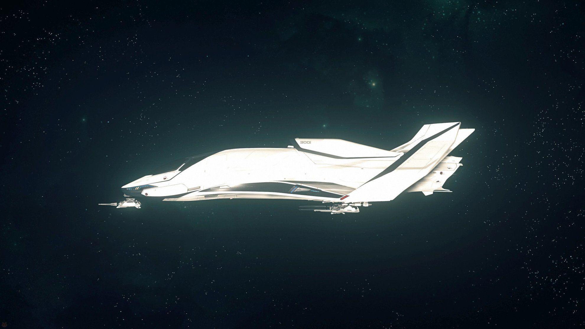Origin 300i w kosmosie - widok z boku